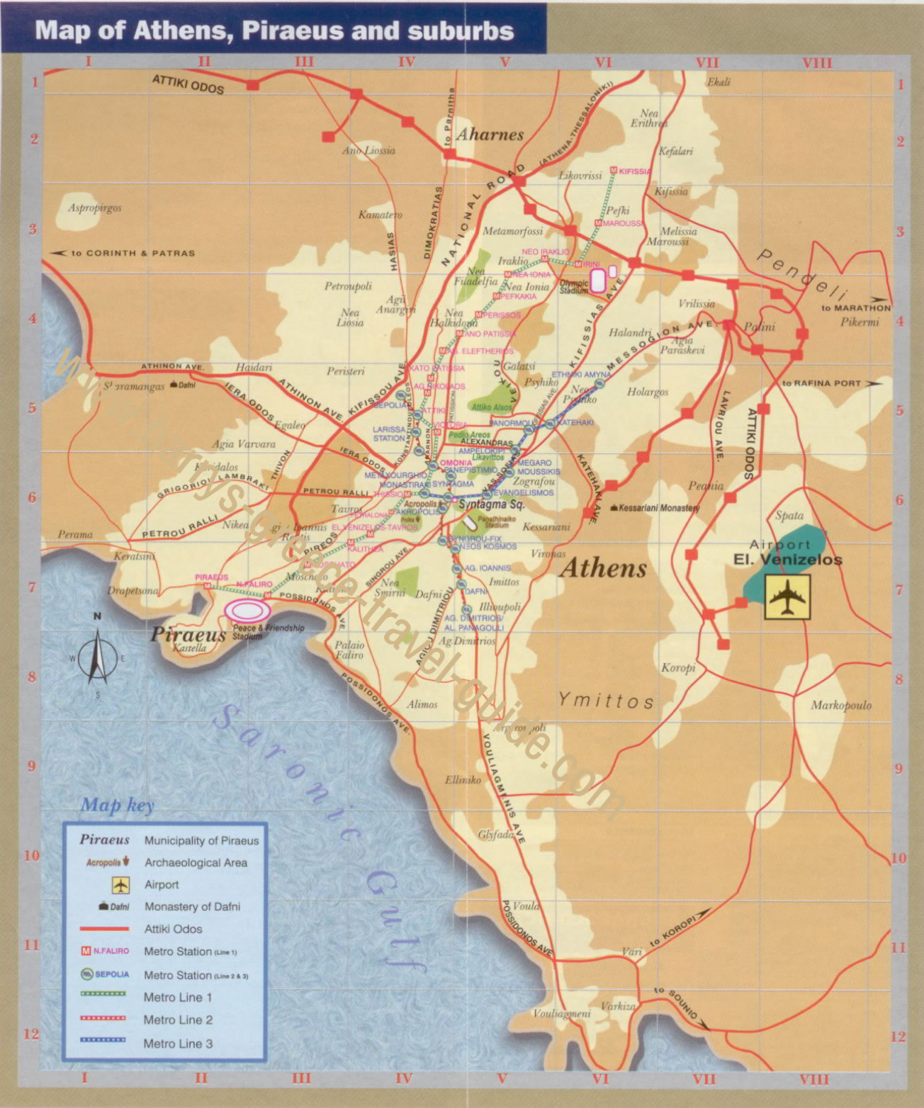 Map Athens Piraeus Suburbs
