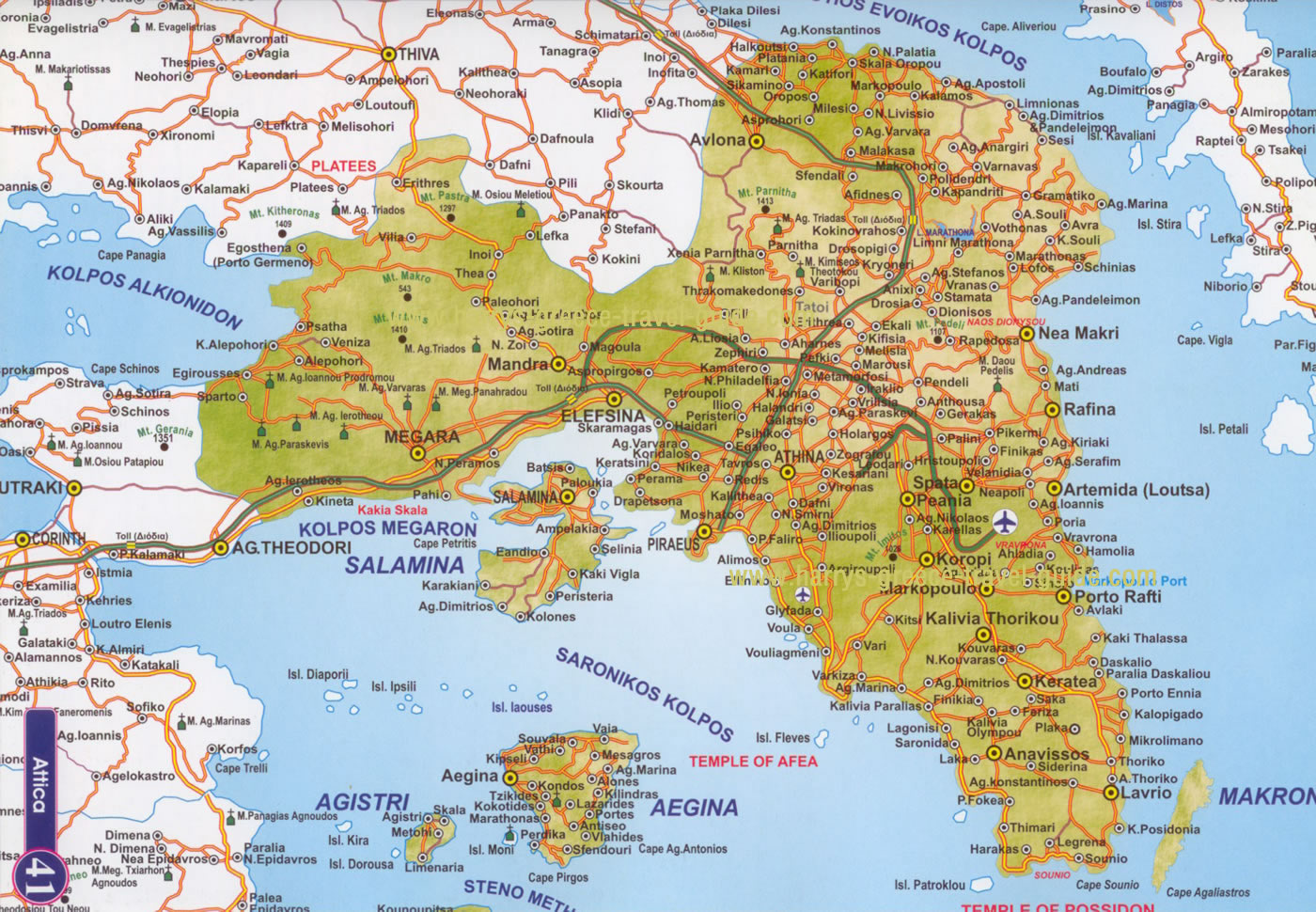 Map Of Athens Greece In English