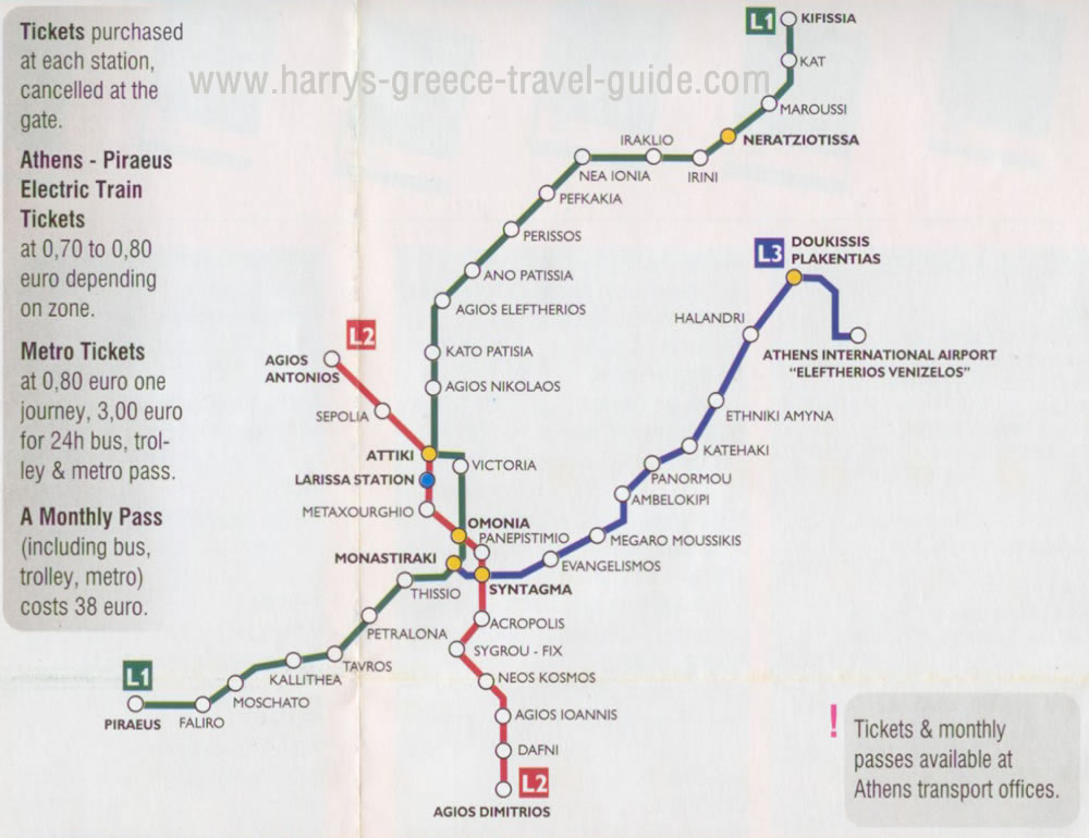Subway Map Athens Greece.Guide Metro Athens Greece