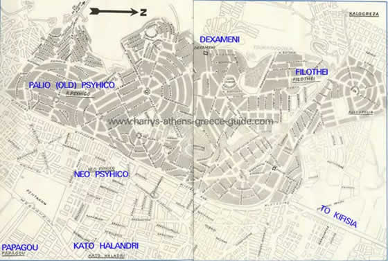 Map Psychico and Filothei Athens Greece Northern Suburb