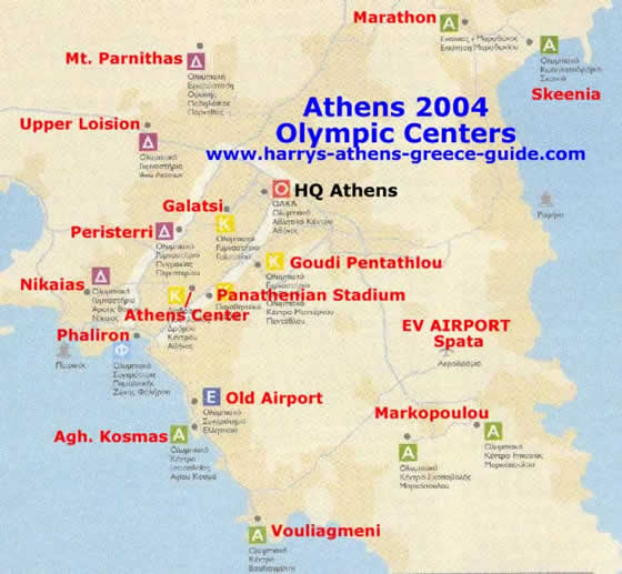 map athens 2004 olympic events locations