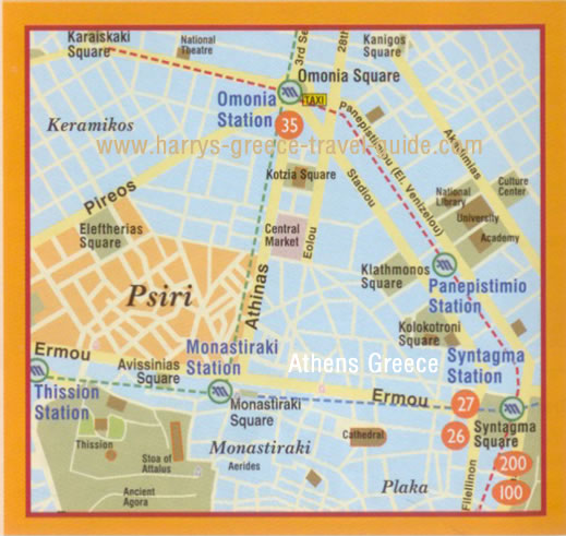Harry's Greece Travel Guide. Athens Greece Map. Psiri Area