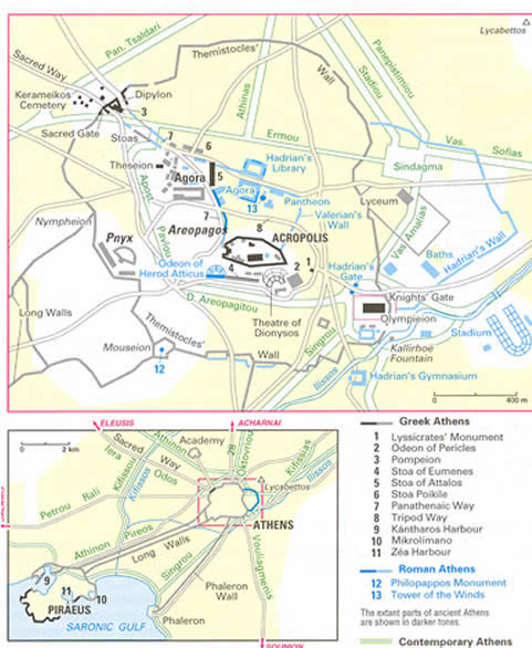 Athens Greece Walking Tour Map - Where is athens located