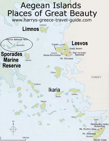 Ecotravel Ecotourism in Greece Northern Aegean Greek islands