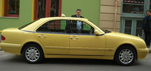 Paul's immaculate Mercedes taxi is air conditioned and has very comfortable plush leather seats