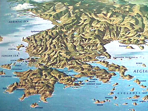 The Geography of Greece. topographical map of greece