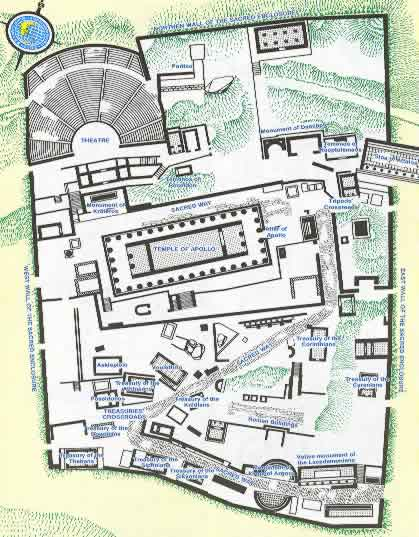 delphi ancient site greece travel map. Ancient Delphi is one of the top five