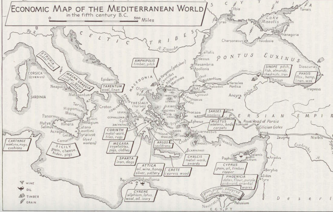 Map: Ancient Mediterranean Economies