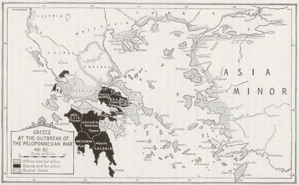 Map Ancient Greece At Start Of Peloponnesian Wars
