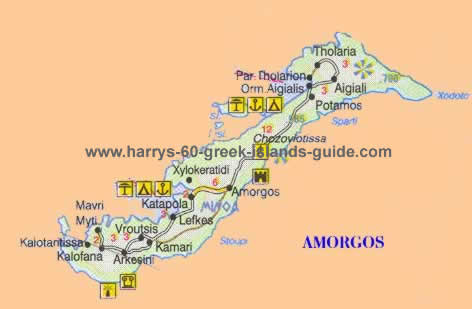 Map Greek Island of Amorgos Cyclades