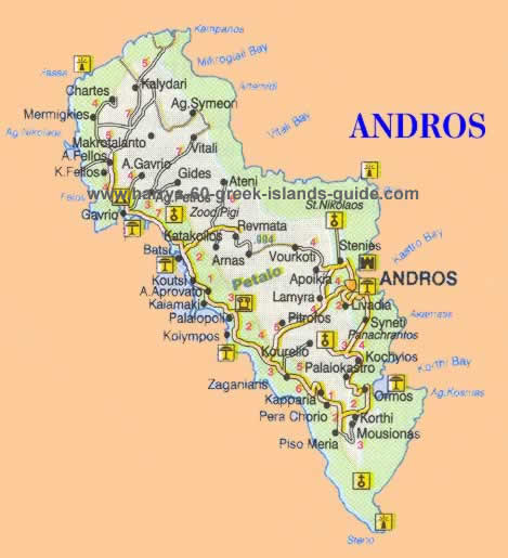 Map Greek Island of Andros (Cyclades)