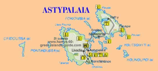 Map Greek Island Of Astypalaia Dodecanese