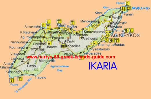 Map Synopsis Greek Island Of Ikaria Dodecanese