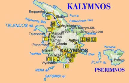Map Synopsis Greek Island of Kalymnos Dodecanese