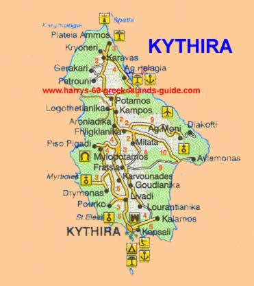 Map Synopsis Greek Island of Kythira Ionian
