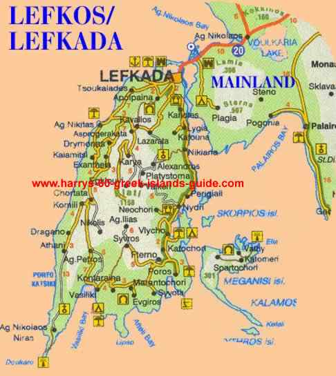 Poros Greece Map.Map Synopsis Greek Island Of Lefkada Ionian