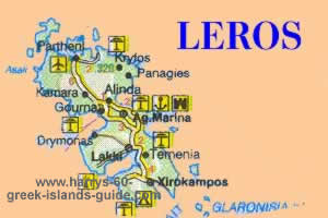 Map Synopsis Greek Island of Leros Dodecanese