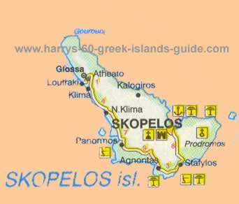 Map Synopsis Greek Island of Skopelos Sporades