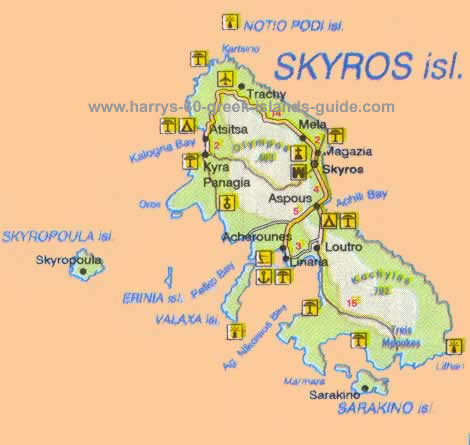 Map Synopsis Greek Island of Skyros Sporades