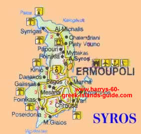 Map Synopsis Greek Island of Syros Cyclades