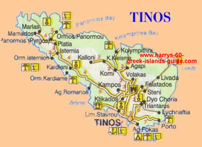 Map Synopsis Greek Island of Tinos Cyclades