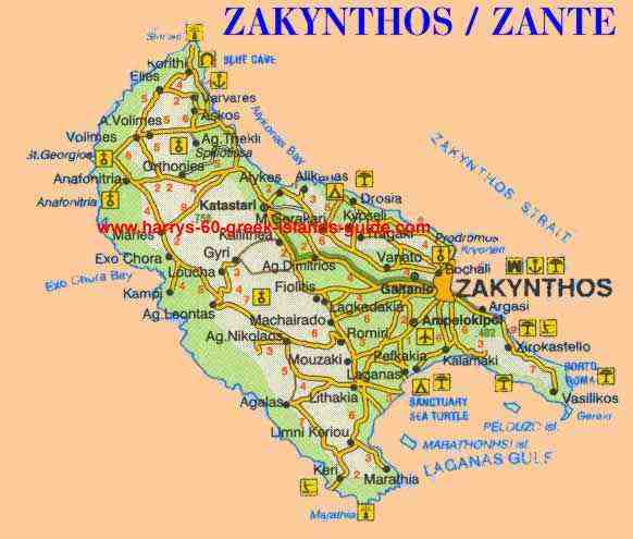 Map Synopsis Greek Island of Zakynthos Ionian