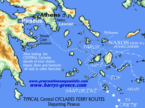 Ferry Routes - Central Cyclades & Crete
