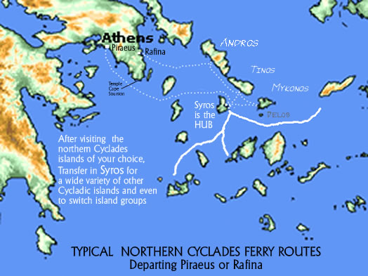 Ferry Routes Northern Cyclades Andros Tinos Mykonos Syros