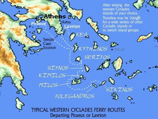 Ferry Routes Western Cyclades