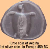 the ofrst silver coin in Europe was minted i Aegina