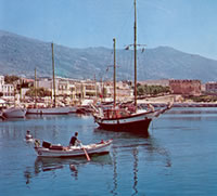 Karystos harbor with caique motor sailor