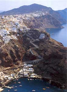 the cliffs of santorini