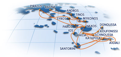 Map of Greek Islands Ferry Routes Blue Star Ferries Route Map