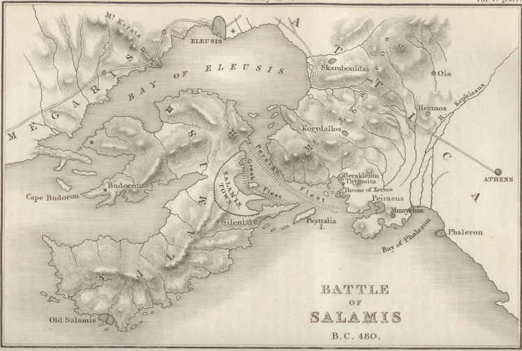 Battle of Salamis Map Map of Battle of Salamis